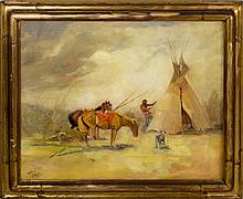 Raphael Lillywhite Oil Painting of Native Camp