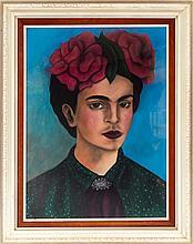 Frida Kahlo Self Portrait Pastel Drawing