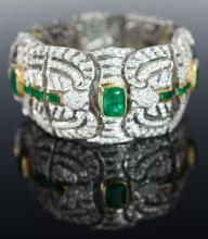 18K White & Yellow Gold Emerald & Diamond Bracelet