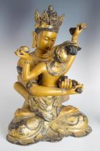 Bronze Asian Mother & Child Statue