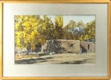 Morris Rippel Pueblo Watercolor Painting