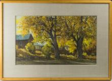 Morris Rippel Homes & Trees Watercolor Painting