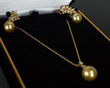 Assael International 18K Diamond Pearl Set