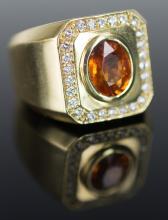 18K Yellow Gold Orange Sapphire Diamond Ring