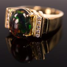 14K Yellow Gold Black Opal and Diamond Ring