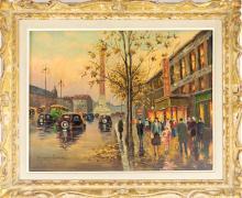 Edouard Cortes Signed Oil Painting, Paris Scene