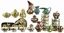 23pcs of Chinese Cloisonne: Pitchers, Jar, Buckle
