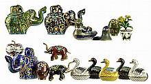 15 Chinese Figural Cloisonne Pcs: Elephants, Ducks