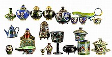 21 Pieces of Chinese Cloisonne: Jars, Cup, Shakers