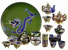 18pcs of Chinese Cloisonne: Tea Pots, Jars, Plate