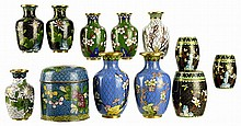 12pcs of Chinese Cloisonne: Vases & Jars