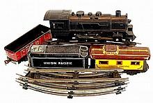 Vintage  Key-Wind 4 Piece Train Set w/ Tracks