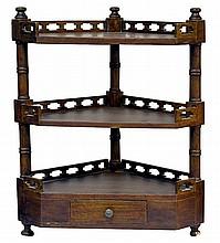 Vintage 3-Tier Wooden Corner Shelf, 1 Drawer
