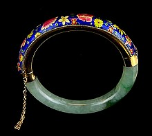 14k Chinese Cloisonne and Jade Bangle