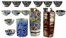 Asian Porcelain: Cup, 2 Bottles, Sake Cups