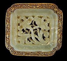 Carved Jade in Bronze Belt Buckle
