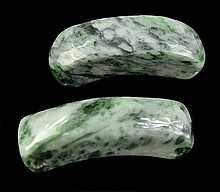 Pair of Jadeite Beads, Pear Cabochon, Serpentine