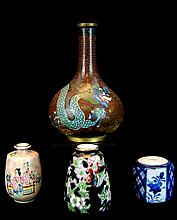 Cloisonne Dragon Vase w/ Porcelain Mini Vase Lot