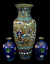 (3) Pcs. Antique Japanese Cloisonne Vase Lot