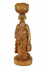 Large Asian Caved Wood Sculpture, Laughing Mother