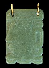 10K Gold & Carved Jade Pendant