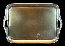 English Silver Plate Handled Serving Tray