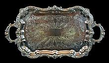 English Silver Plate Footed Serving Tray