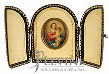 Madonna & Child Miniature Painting On Ivory