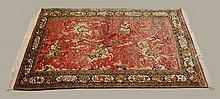 Silk Woven Persian Rug w/ Hunting Scene