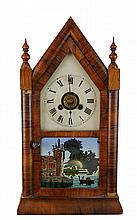 Reverse Painted Glass Jerome Steeple Clock
