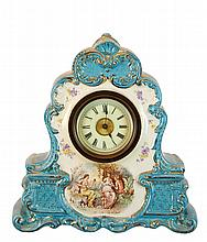 Porcelain Shelf Clock French Movement Scallop Case