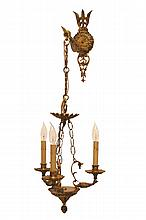 Unusual Vintage Bronze Wall Mount Chandelier