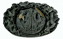 Asian Ink  Box with Carved Dragon Accents