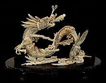 Early 20th C. Japanese Bone, Resin, Ivory Dragon Figure