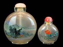 Chinese Reverse Painted Glass Snuff Bottle PAIR