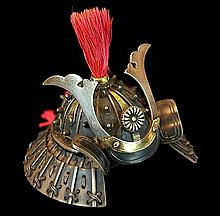 Japanese Silver Samurai Helmet Pillbox