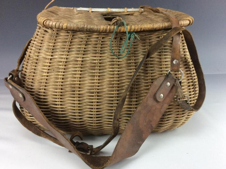 20th c wicker fly fishing creel for Fly fishing creel