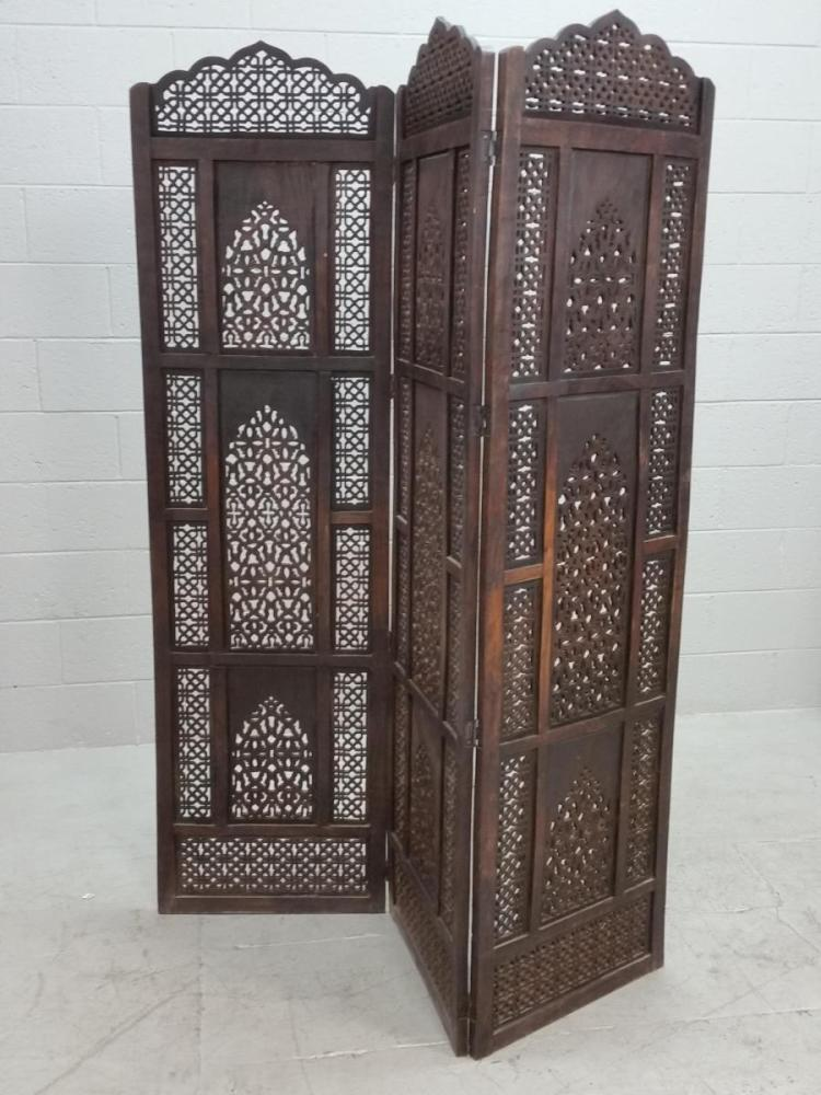 Wood Carved Privacy Screen ~ Carved wood privacy screen
