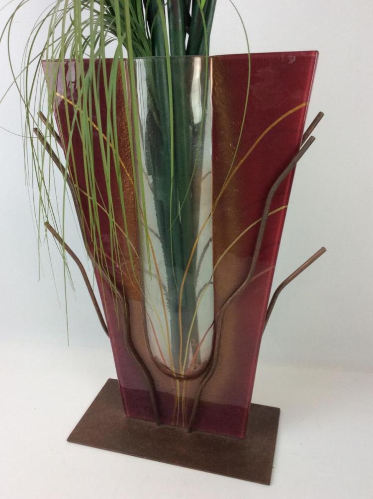 Decorative Metal Art Glass Vase W Faux Flowers