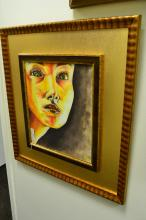 Acrylic On Canvas  Board Of Womans Face Signed Gc 99