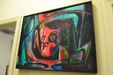 Harold A Laynor Abstract Oil On Canvas Of Mans Head