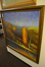 Large Oil On Canvas Of Trees In Autumn Signed Norman