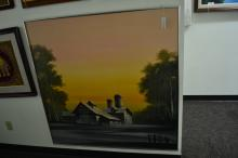 Large Unsigned Oil On Canvas Of Sunset Over Rural Scene