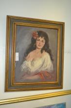 Signed Oil On Canvas Of Female Flamenco Dancer
