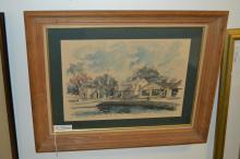 Paul M Norton Signed Watercolor Entitled Seaport Street Mystic Connecticut
