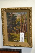 Unsigned Oil On Board Of Forest Scene
