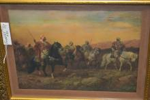 Framed And Matted Prince Arabian Horsemen By Adolf Schreyer