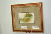Framed And Matted Watercolor Of Wildflowers