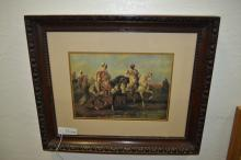 Adolf Schreyer Arabian Horsemen Print Framed And Matted