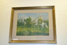 Framed And Matted Print Of Arabian Horsemen By Adolf Schreyer